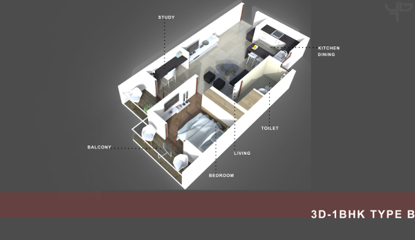 1 BHK Flat Floor Plan