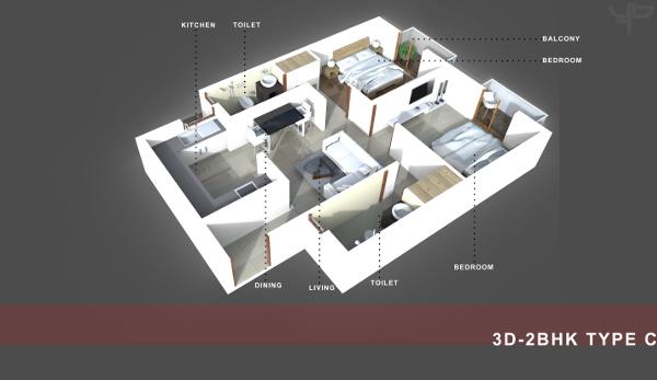 2 BHK Flat Floor Plan