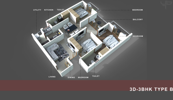 3 BHK Flat Floor Plan